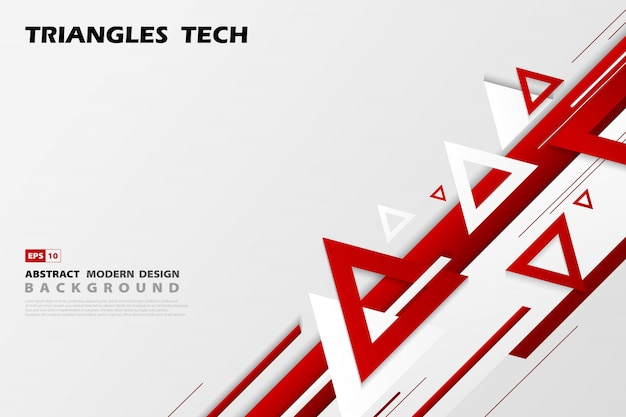 Abstract gradient red triangles tech overlap of futuristic pattern style.