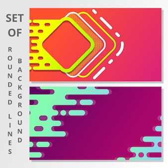 Abstract gradient rounded lines background set