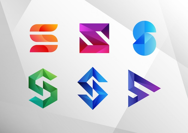 Abstract gradient s logo collection