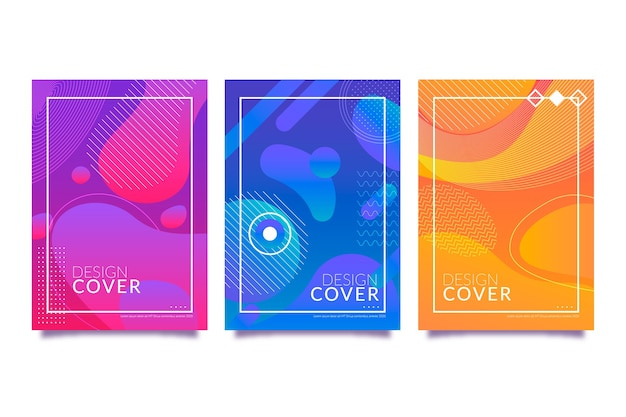 Abstract gradient shapes cover collection template