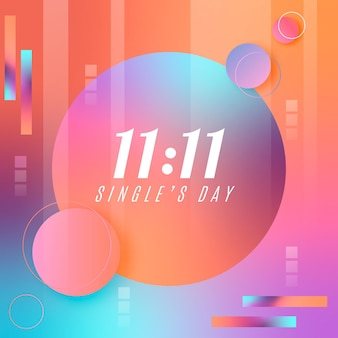 Abstract gradient singles day event illustration with different shapes