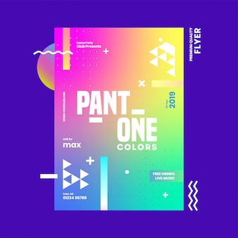 Abstract gradient template or flyer design with venue details for pant one colors.