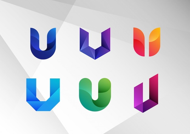 Abstract gradient u logo collection