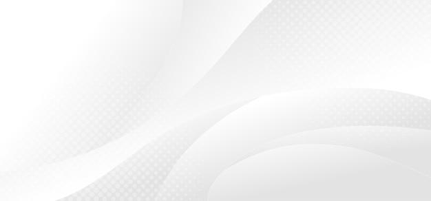 ハーフトーンの装飾的なデザインと動きのパターンの抽象的なグラデーション白とグレーのデザイン。表紙の背景のテンプレートデザイン。イラストベクトル