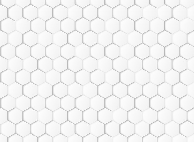 Abstract gradient white and gray hexagonal geometric paper cut background.