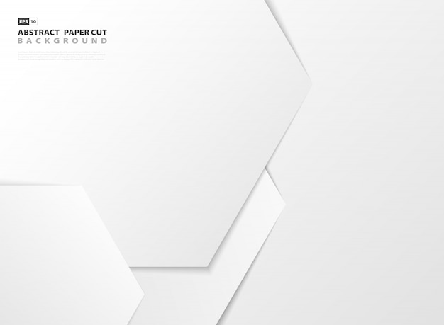 Abstract gradient white hexagonal pattern design paper cut background.