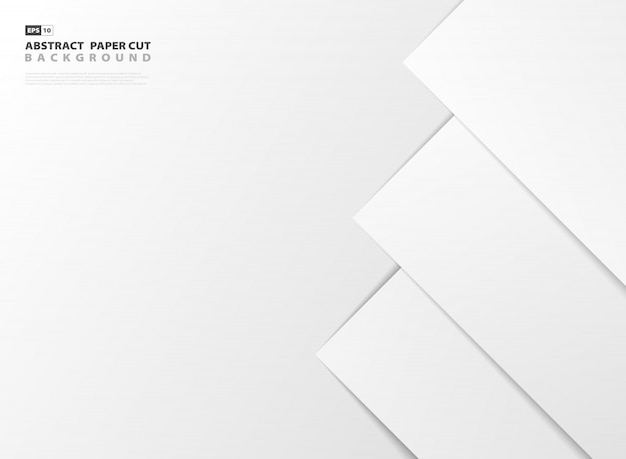 Abstract gradient white paper cut style of right side pattern design background.