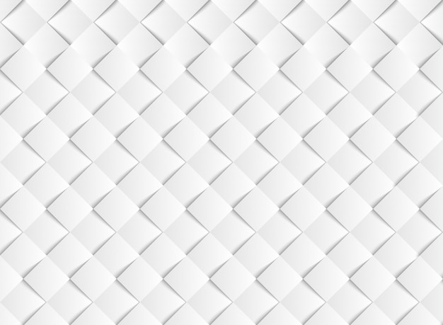 Abstract gradient white vector square paper cut pattern background.