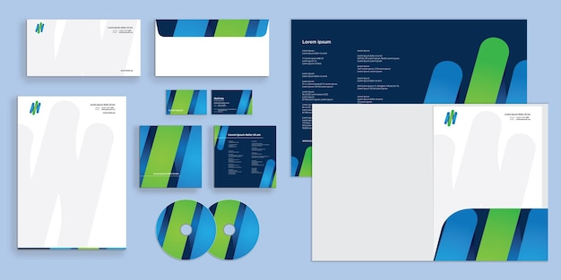 Abstract gradients lines modern corporate business identity stationary