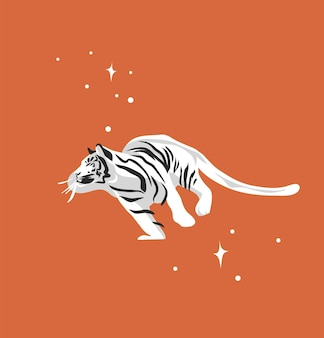 Abstract graphic cartoon illustration with beauty cute celestial trendy wildlife white tiger