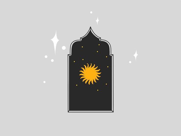 로고 요소가 있는 추상 그래픽 그림, 아치에 있는 태양의 점성술 보헤미안 마술 예술