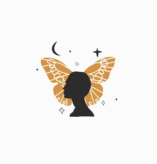 Abstract graphic illustration with logo element, bohemian art of butterfly, crescent and woman