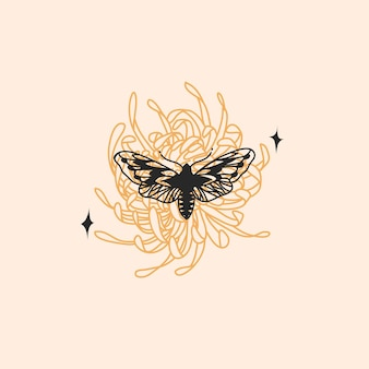 Abstract graphic illustration with logo element, bohemian astrology emblem of moth butterfly