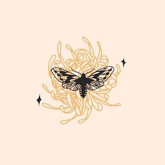 로고 요소가 있는 추상 그래픽 그림, 나방 나비의 보헤미안 점성술 상징
