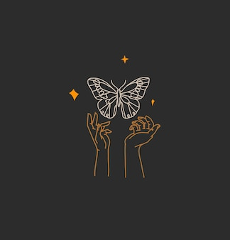 Abstract graphic illustration with logo element, bohemian magic art of butterfly and stars