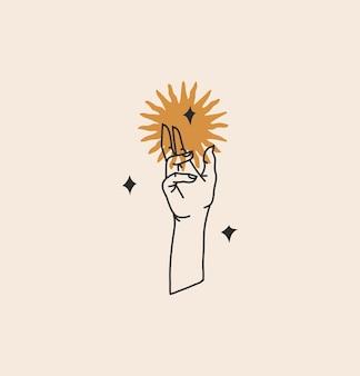 로고 요소가 있는 추상 그래픽 그림, 황금빛 태양 실루엣의 보헤미안 마술 예술