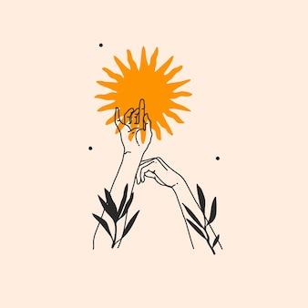 로고 요소가 있는 추상 그래픽 그림, 태양 실루엣의 보헤미안 매직 라인 아트