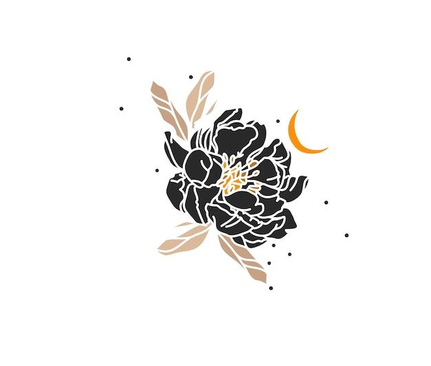 라인 플라워 아트, 달, 모란 꽃의 로고 요소가 있는 추상 그래픽 그림