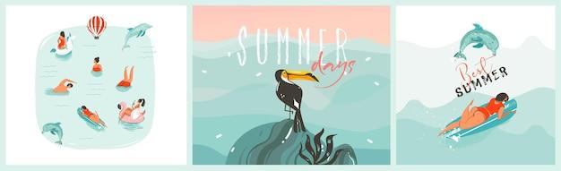 Абстрактный графический летний мультфильм, современные иллюстрации печатает набор