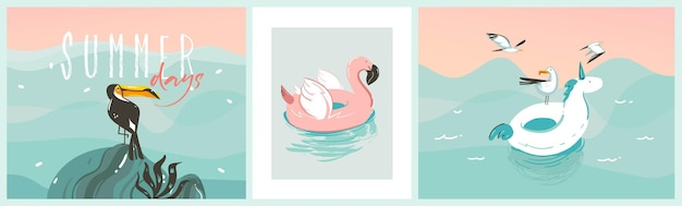 Abstract graphic summer cartoon, contemporary illustrations prints collection set