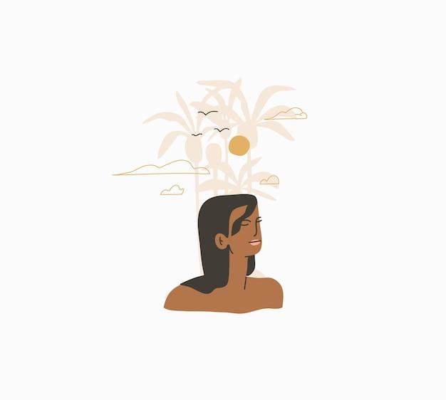 추상 그래픽 여름 만화, 삽화는 보헤미안 아름다운 소녀와 함께 일광욕을 합니다.