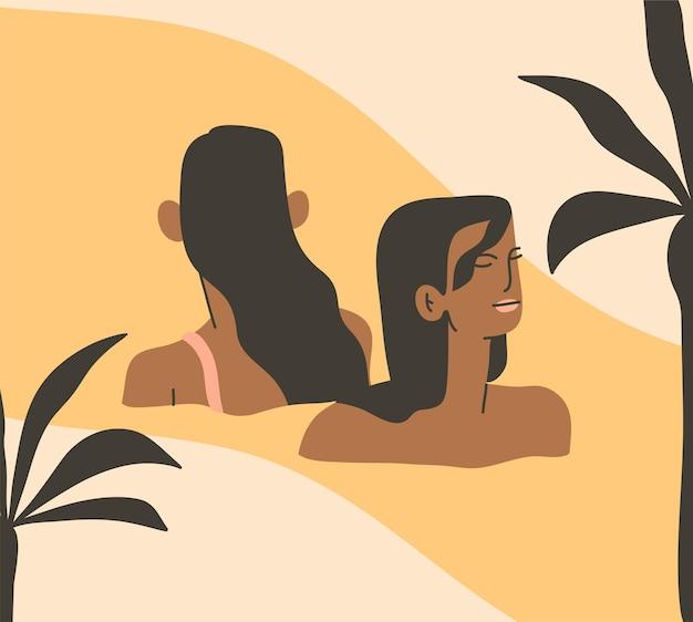 추상 그래픽 여름 만화, 삽화는 수영하는 보헤미안 아름다운 소녀들과 함께 인쇄됩니다.