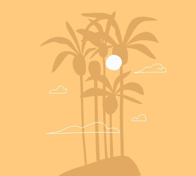 추상 그래픽 여름, 아름다운 열대 야자수와 함께 최소한의 일러스트레이션 장면