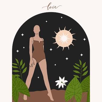 アーチフラット自由奔放に生きる太陽と魔法の星を持つ民族の美しい立っている女性と抽象的なグラフィック