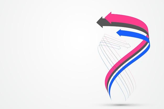 엇갈린 화살표로 구성된 추상 그래픽은 협력과 발전의 의미를 상징합니다.