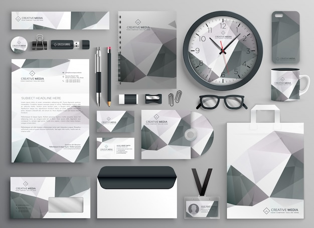 Abstract gray business stationery template collection
