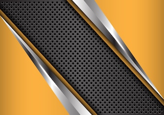 Abstract gray circle mesh with yellow silver triangle modern.
