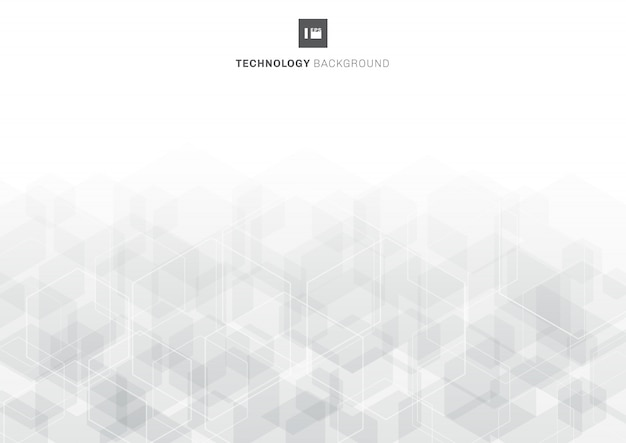 Abstract gray hexagons overlapping pattern on white background technology concept.