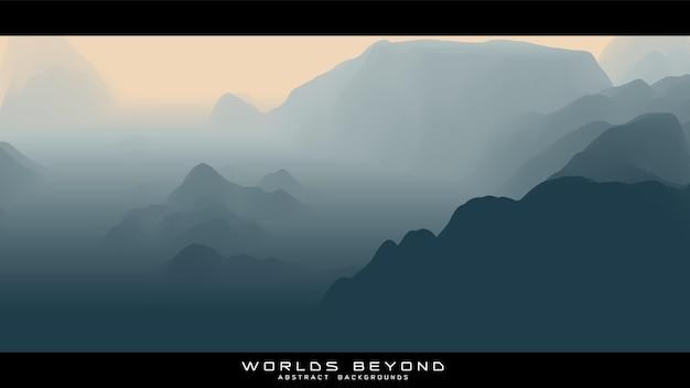 Paesaggio grigio astratto con nebbia nebbiosa fino all'orizzonte su pendii montani