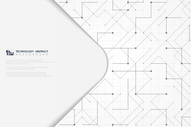 Abstract gray line geometric triangle square dotted tech minimal cover.
