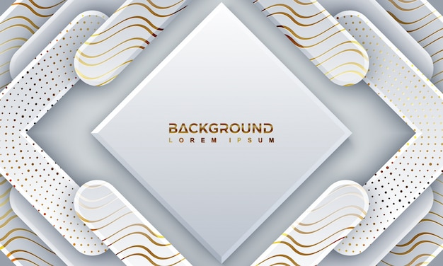 Abstract gray papercut background with shining golden lines.