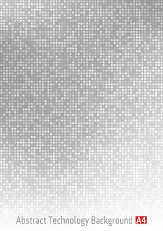 Abstract gray  technology circle pixel digital gradient background, business grey pattern backdrop with round pixels in a4 paper size.