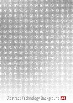 Абстрактный серый технологический круг пикселей цифровой градиентный фон, бизнес серый узор фона с круглыми пикселями в формате a4.