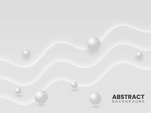 3dボールまたはビーズと抽象的な灰色の波の動きの背景。
