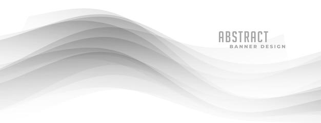 白いバナーに抽象的な灰色の波状の形