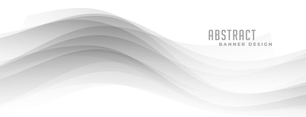 Abstract gray wavy shape on white banner
