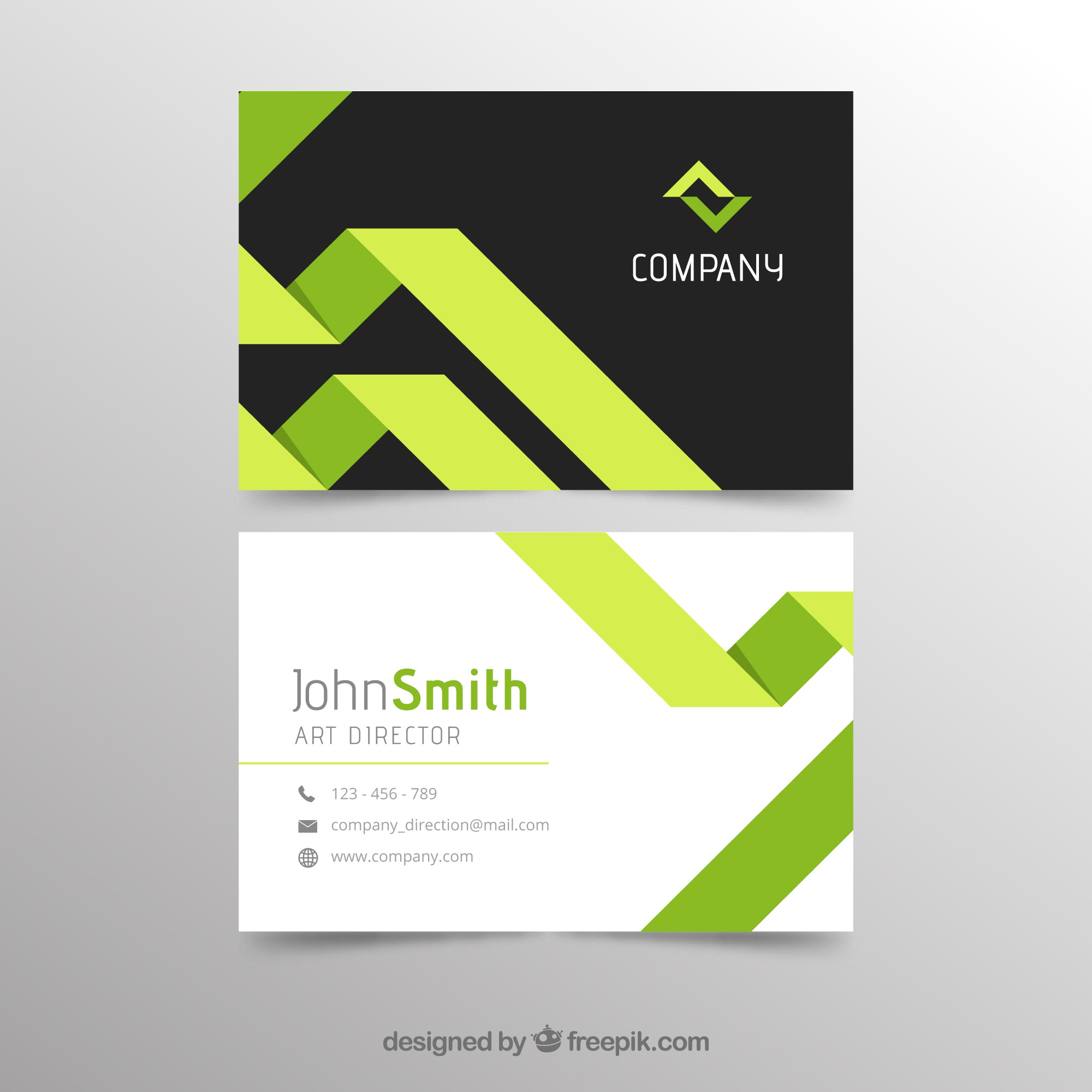 Abstract green and black business card template