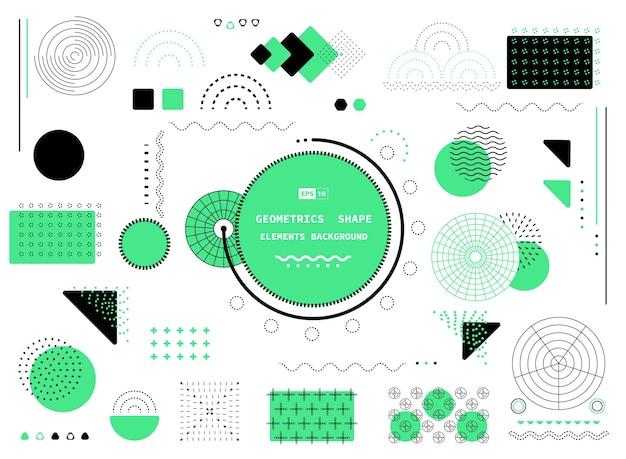 사각형 현대 요소의 추상 녹색과 검은 색 기하학적 모양 디자인을 형성합니다. 원과 기하학적 헤더 배경의 선 스타일.