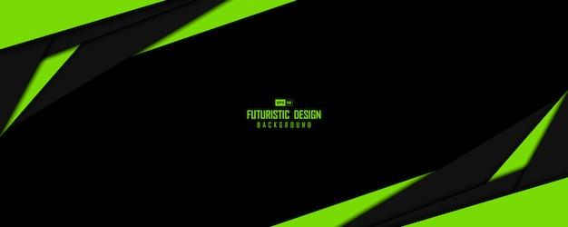 オーバーラップデザインアートワークの背景の抽象的な緑と黒のテンプレート。