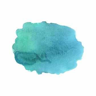 白い背景の上の抽象的な緑と青の水彩画。