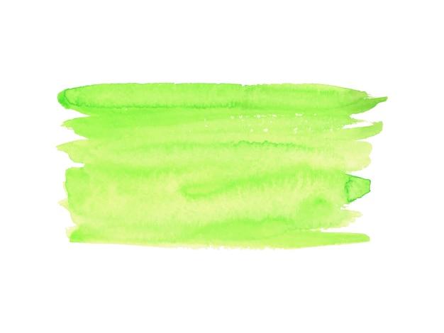Абстрактная зеленая и желтая акварель на белом фоне.