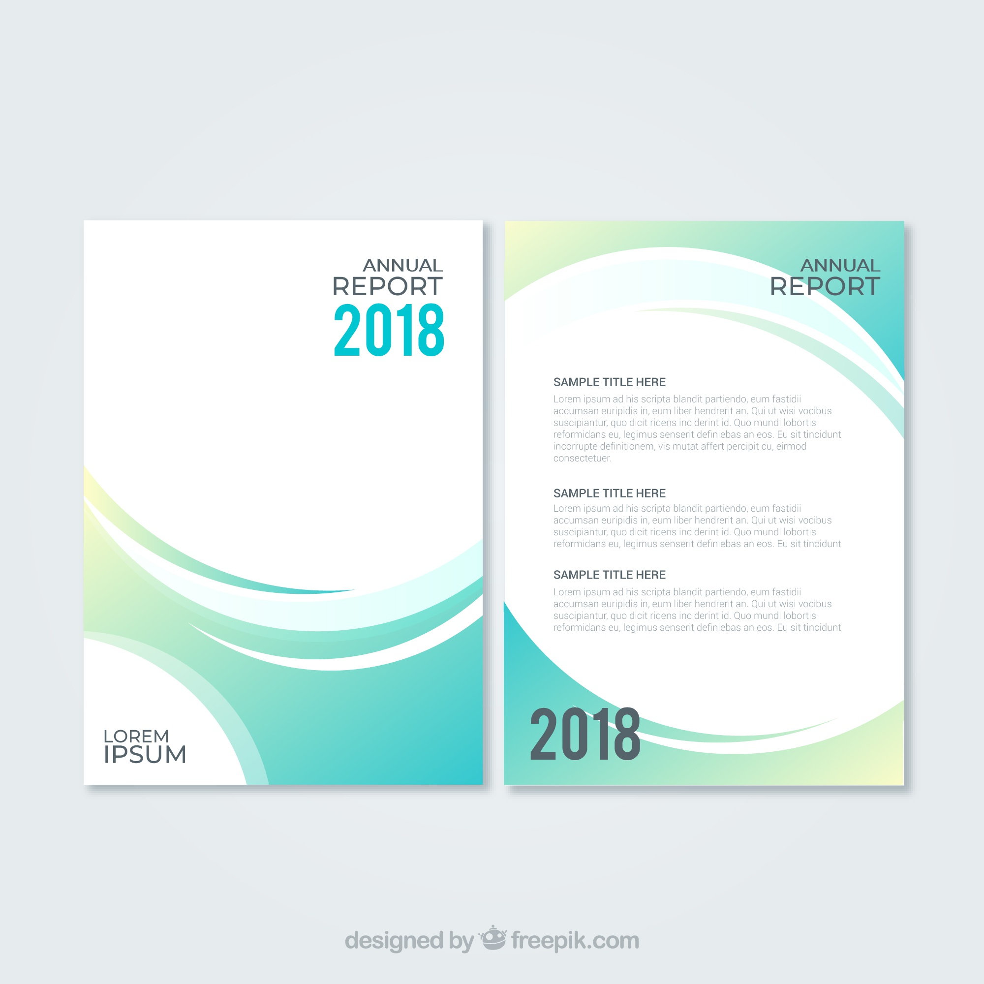 Abstract green annual report cover template