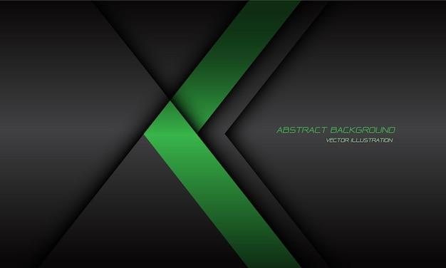 空白の背景に抽象的な緑の矢印の方向の濃い灰色の影の線。 Premiumベクター
