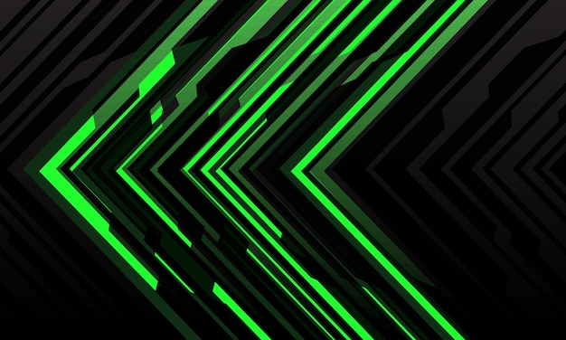 Abstract green arrow light cyber geometric technology futuristic direction on black modern background.