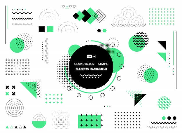 Abstract green and black geometric shapes background