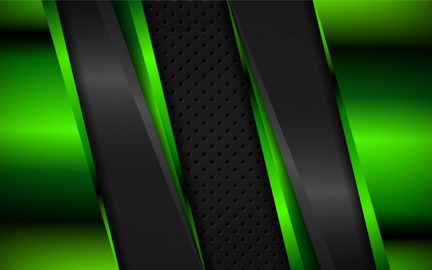 Abstract green and black metallic shapes background